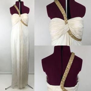 Cache Floor Length Beaded Evening Dress Gown Sz 8